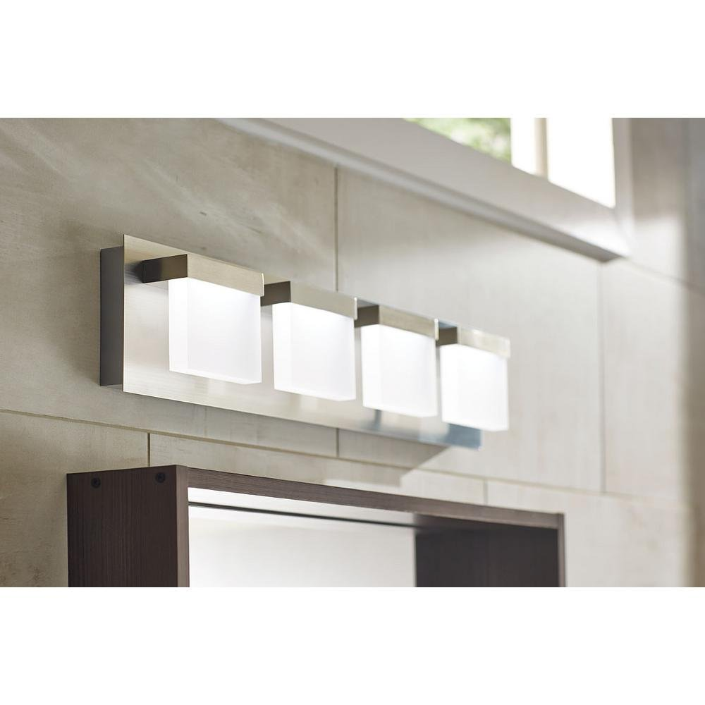 Alberson Collection 4-Light Brushed Nickel LED Bath Bar Light by Home Decorators Collection