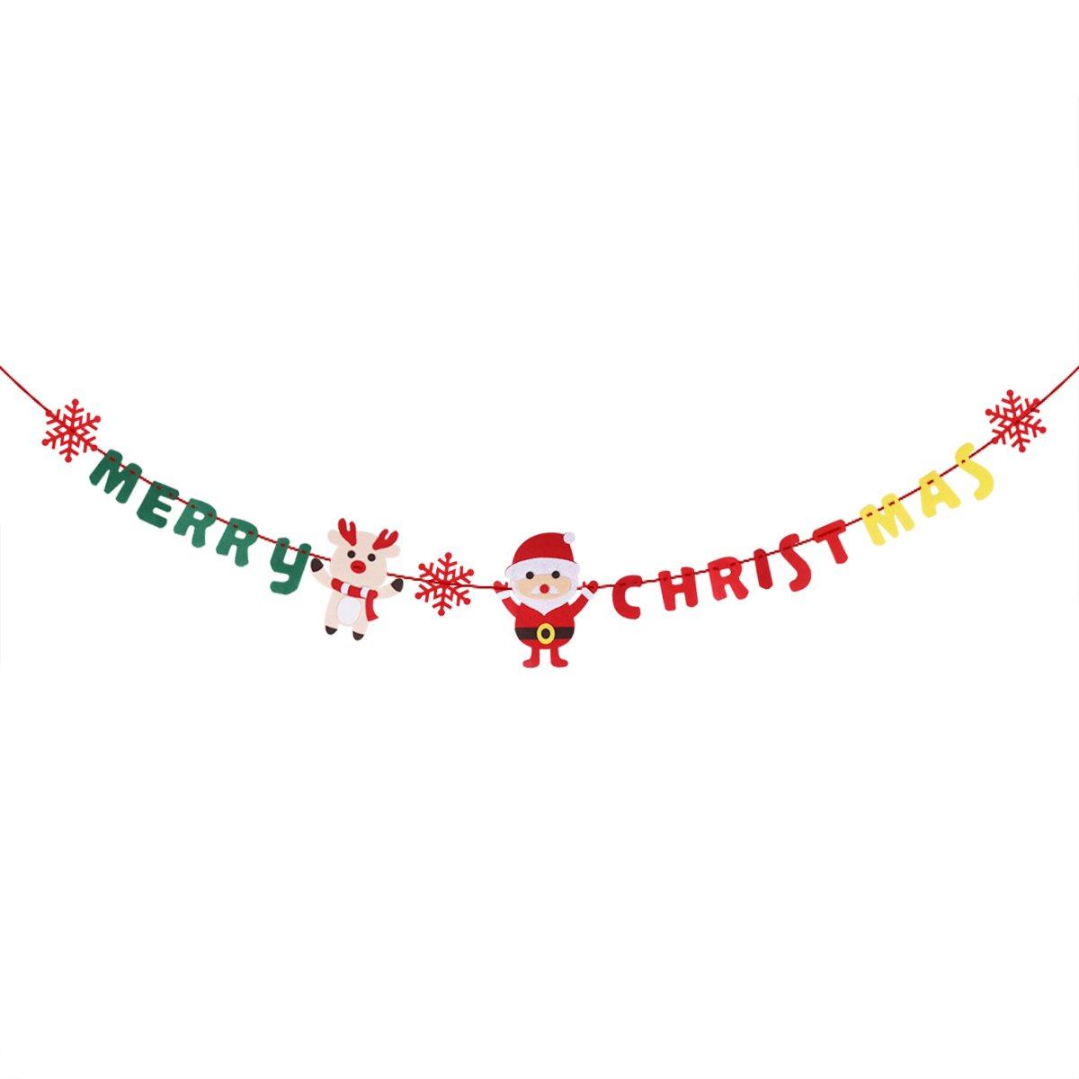 OULII 3M Bandiera Natale Decorazione Merry Christmas Ghirlande Non Tessuto per decorazione natalizia Feste