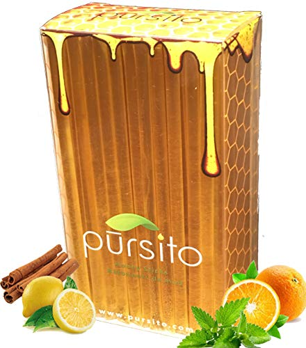 Color Free Natural Honey Sticks Gift Box Variety Pack 100 Count (25 ea. Flavor Lemon, Mint, Orange & Cinnamon) Pursito Brand Honeystix