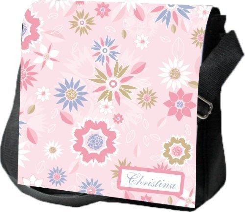 Livingstyle & Wanddesign Umhängetasche Damen Digital Reporter mit Namen, 4 L, schwarz, rosa Blüten