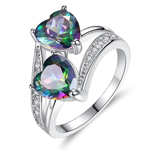 (Sinwo Women Lover Jewelry Rainbow Gemstone Personality Double Heart Silver Ring Gift (6, Multicolor))