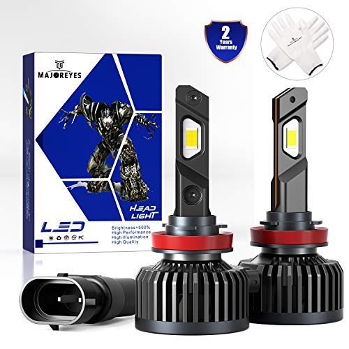 MAJOREYES H11 H9 H8 LED Headlight Bulbs All-in-One Conversion Kit,Super Power (90W/Set),12500Lm -6000K - 2 Years Warranty