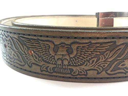 Handmade Leather Belt with Embossing Eagle, Men Leather Belt, Genuine Leather