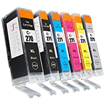 Sophia Global Compatible Ink Cartridge Replacement for PGI-270XL and CLI-271XL, 1 Large Black, 1 Small Black, 1 Cyan, 1 Magenta, 1 Yellow, 1 Gray