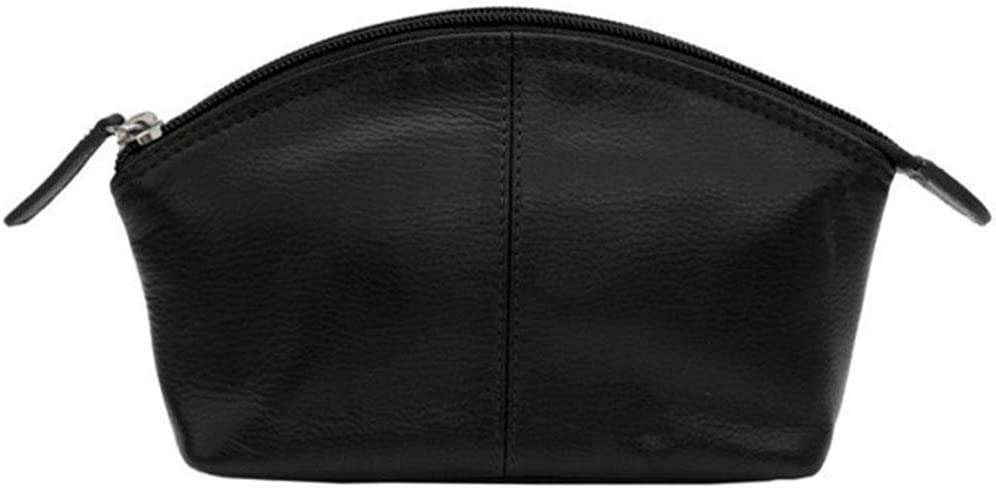 CCFW Womens 100 m Genuine Leather Cosmetic Pouch Black