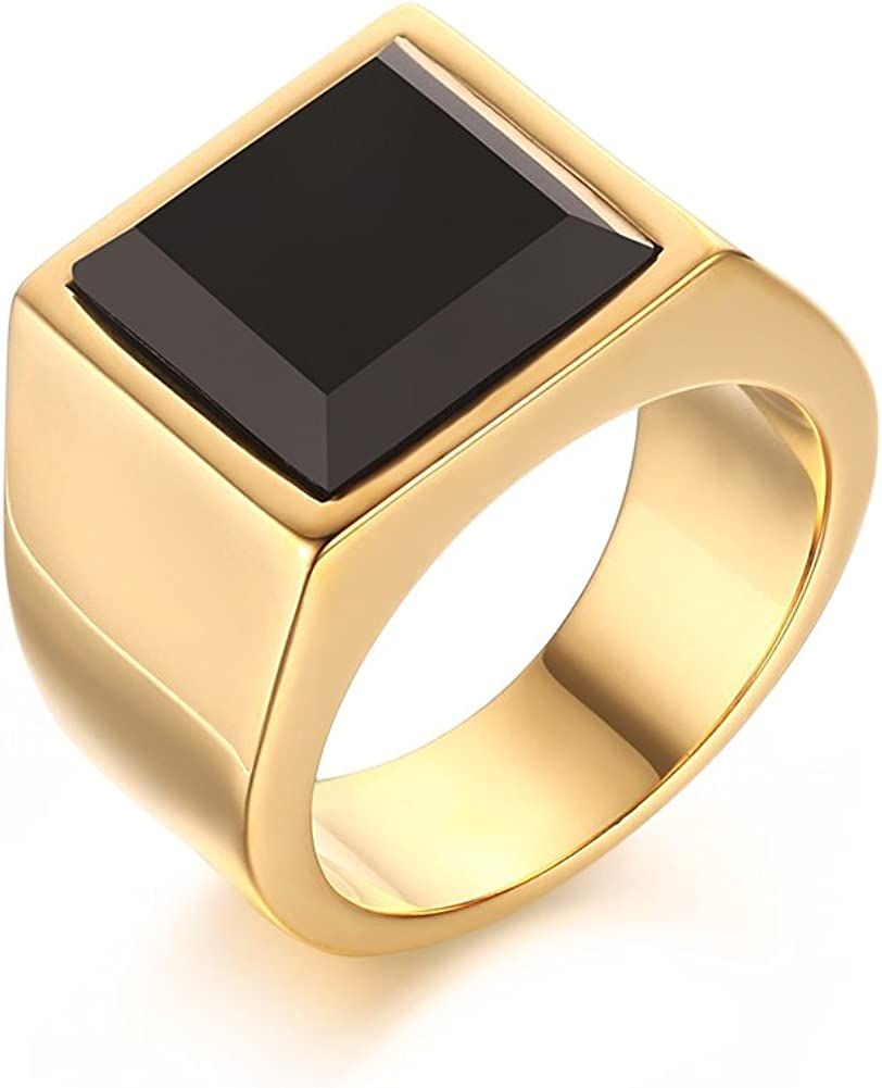 MEALGUET Jewelry Gold Plated Stainless Steel Square Black Agate Signet Rings for Men, Size 8