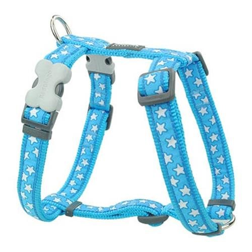 Red Dingo Stars White on Turquoise Large Dog Harness