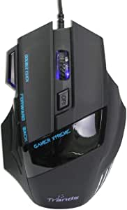 Trands Blue iON 7 Button LED 6000 DPI Optical USB Wired Gaming Mouse for Pro Gamer