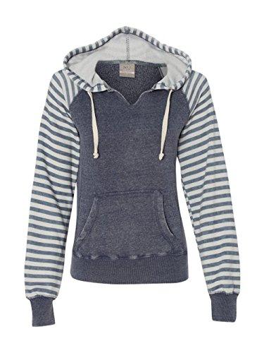 MV Sport W15106 Women's Angel Fleece Sanded Piper Pullover Sweatshirt Deep Blue M (Fleece Hooded Sport Pullovers)
