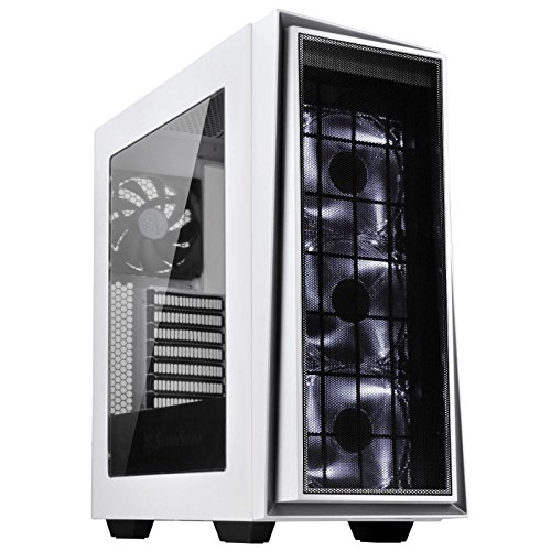 SilverStone Technology ATX Tower Computer Case with Three 120mm White LED Intake Fans in White and Silver with Side Panel Window RL06WS-PRO