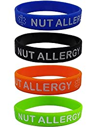 """NUT ALLERGY"" Silicone Wristbands - Blue, Orange, Green and Black Kid's Sizes (4 Pack)"