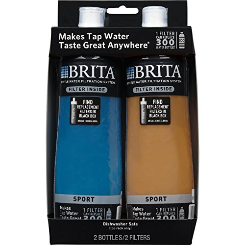 Brita 20 Ounce Sport Water Bottles with Filter - BPA Free - Blue and Orange 2 Count