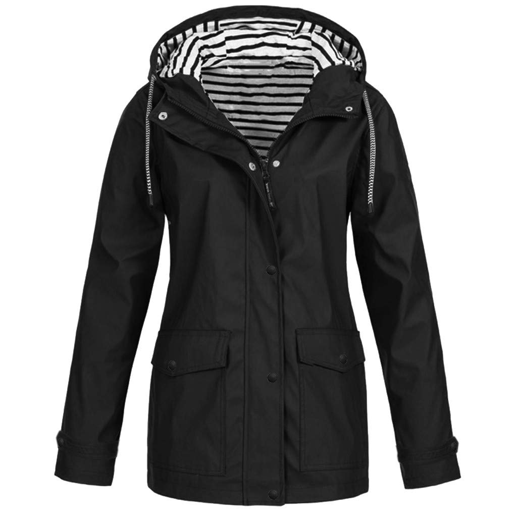 Opinionated Rain Jackets for Women Plus Size Zipper Raincoats Hoodie Solid Long Sleeve Waterproof Windproof Outdoor Coats Black by Opinionated