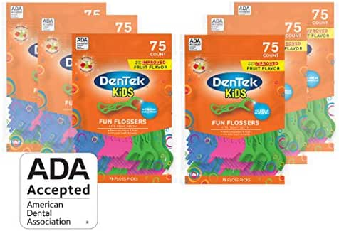 Dentek Kids Fun Flossers with Advanced Fluoride Coating | Removes Food & Plaque | Wild Fruit Flavored Floss Picks | 75 Count | Pack of 6