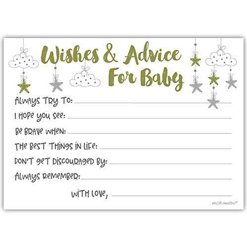 m&h invites 50 Little Star Wishes and Advice for Baby Cards - Baby Shower Game