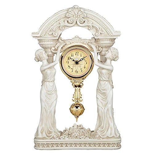 Diyida(チイダ)時計 置時計 アンティーク クラシック おしゃれ レトロ インテリア 振り子時計 アンティーク スタンダードアナログ置き時計 66098-02 白い B01GJK3Y34 白い 白い
