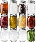 Ball Mason Jars 16 oz/Pint - 12 Regular Mouth Jars with Airtight lids & Bands - For Canning, Fermenting, Pickling - Beverages & Jar Decor. Microwave & Dishwasher Safe, Toxin Free.+ SEWANTA Jar Opener