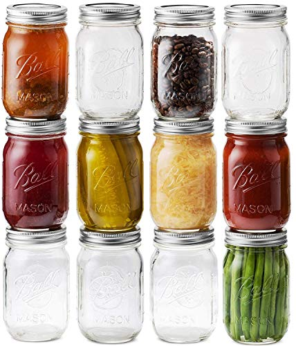 1 Pint Mason Jars (Ball Mason Jars 16 oz/Pint - 12 Regular Mouth Jars with Airtight lids & Bands - For Canning, Fermenting, Pickling - Beverages & Jar Decor. Microwave & Dishwasher Safe, Toxin)