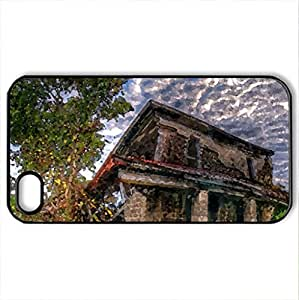 Fallen House - Case Cover for iPhone 4 and 4s (Houses Series, Watercolor style, Black)
