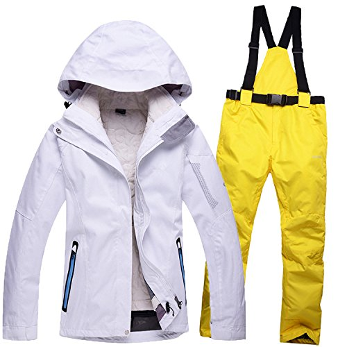 Warm Windproof Men JACKETS FYM DYF Ski White Jacket Coat Pants Yellow Suit Waterproof Women Zipper wvvPdEq