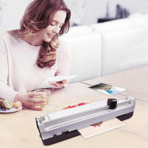 Large Product Image of 4 in 1 Blusmart OL288 Laminator Machine, A4, Rotary Trimmer/Corner Rounder/10 Laminating Pouches, White