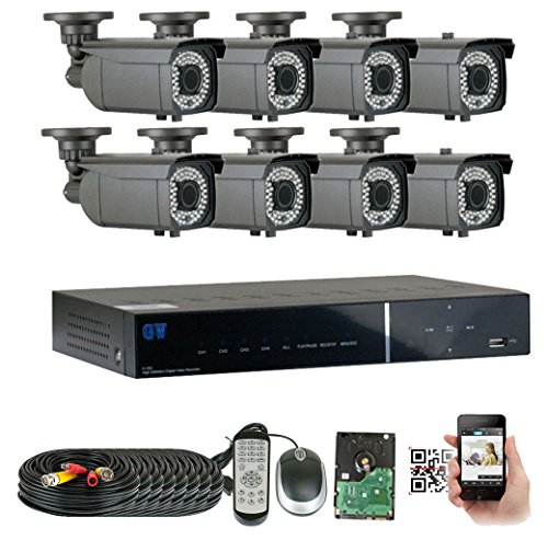 GWSecurity 8CH400WHD 8 Channel DVR + 8 x 1000TVL (720P) Vari-Focal Zoom 147 feet IR Outdoor / Indoor Security Camera System with Pre-Installed 1TB Hard Drive