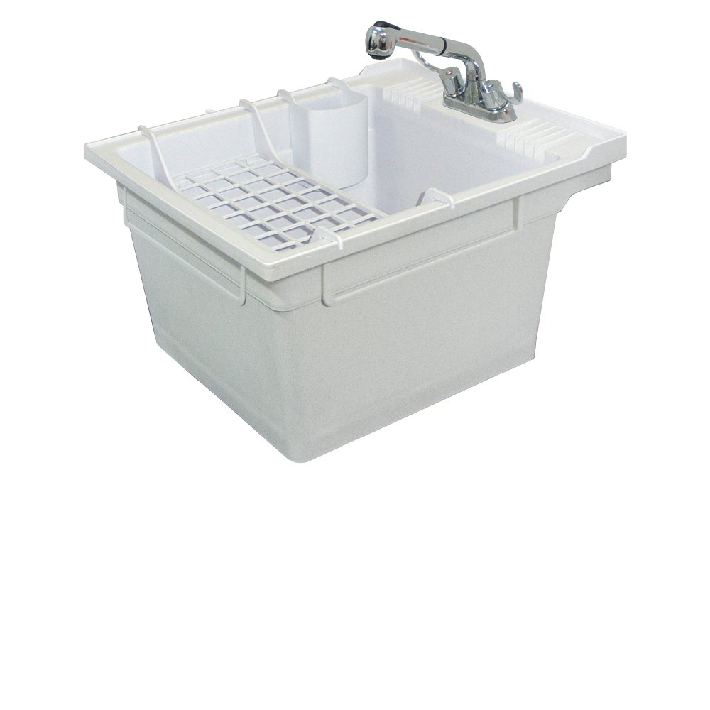 Samson SM 19 WC Wall Mounted Laundry Tub 22.375 IN W X 26 IN D X 14 IN H  With Faucet And Accessory Kit, Gray     Amazon.com
