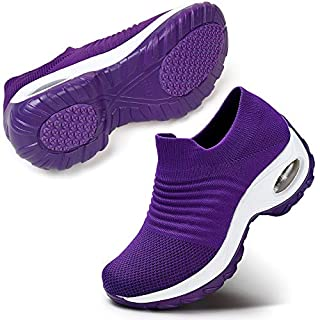 Women's Walking Shoes Breathable Mesh Slip On Athletic Shoes Fashion Sneakers Running Loafers 6.5 Purple