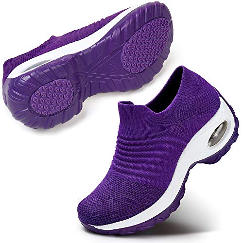 Women Comfort Walking Shoes Casual Tennis Lightweight Sneakers Wedges Air Cushion Slip On Fitness Shoes 9.5 Purple