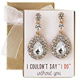 AMY O. Wedding Bridesmaids Gift, Crystal Glass Drop Earrings in Gold, Rose Gold or Silver