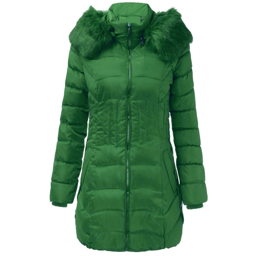 CHIDY Women's Winter Fashion Faux Fur Hooded Slim Waisted Down Jacket Warm Quilted Parka Coat(XX-Large,Green) by CHIDY