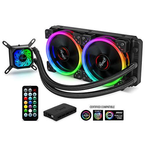 - Rosewill RGB 240mm CPU Liquid Cooler, All-in-One Closed Loop PC Water Cooling, Quiet Addressable RGB Ring Fans, Intel/AMD Compatible, 400mm Sleeved Tubing - PB240-RGB