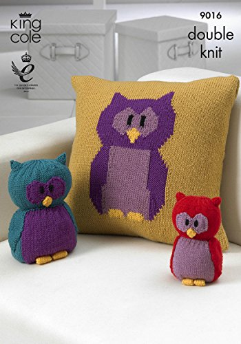 King Cole Double Knit DK Knitting Pattern for Owl Motif Cushion Toy & Doorstop 9016