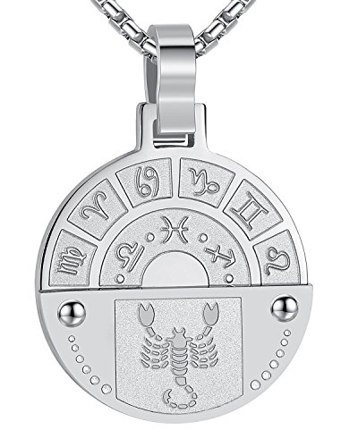 (Stainless Steel Scorpio Zodiac Horoscope Sign Pendant Necklace, Unisex, 21