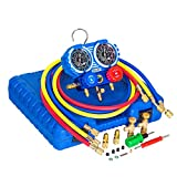 """Manifold Gauge Set, Diagnostic A/C Tool Kit for R410A, Brass HVAC Service Set with 5 ft Hoses, Adjustable Joint ( from 1/2"""" Male to 1/4"""" Female Including) for R410A, R22, R32, Not for Car Use"""