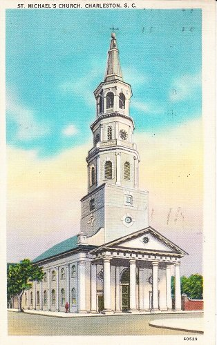 Vintage Used Linen Postcard St. Michael's Church, Charleston, South Carolina