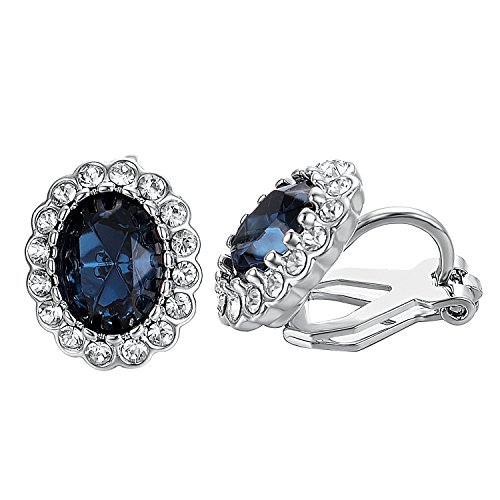 Yoursfs Sapphire Earrings Oval Halo Navy Crystal Antique CZ Clip On Earrings Mother's ()