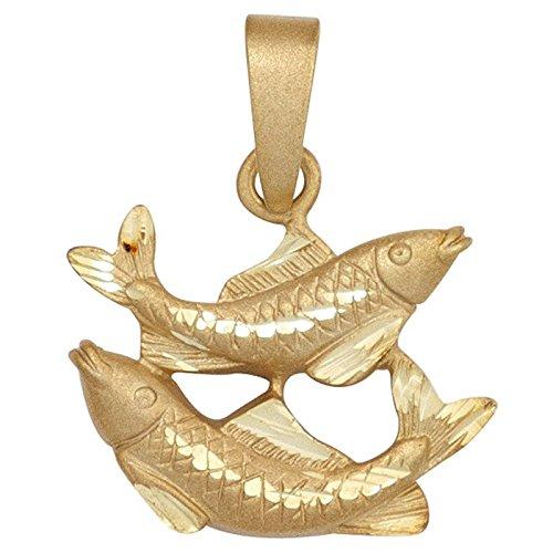 Pendentif représentant le signe astrologique poisson en or jaune 585 pliantes goldanhänger pour femme