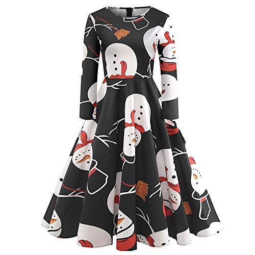 Sleeveless Belted Ponte Dress - 2018Christmas Women's Holiday Vintage Black Evening Prom Costume Swing Dress,Girls 3/4 Sleeves Back Zipper Novelty Dress (O_Black, S)