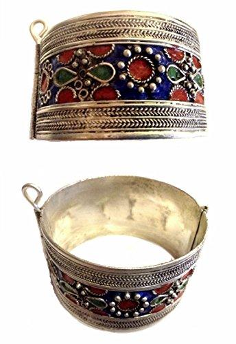 Enamel Silver Vintage Bracelets - Vintage Moroccan Berber Tribal Cuff Hinged Bracelet Silver Alloy & Enamel Color