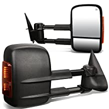 Chevy Silverado / GMC Sierra GMT800 Pair of Black Powered + Heated Glass + Signal + Manual Extenable Side Towing Mirrors