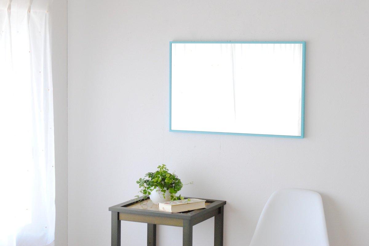 SENNOKI 47cm×72cm 細枠 全身 鏡 姿見 壁掛け ウォールミラー 長方形 日本製 (センノキブルー) B072WHGB4J センノキブルー センノキブルー