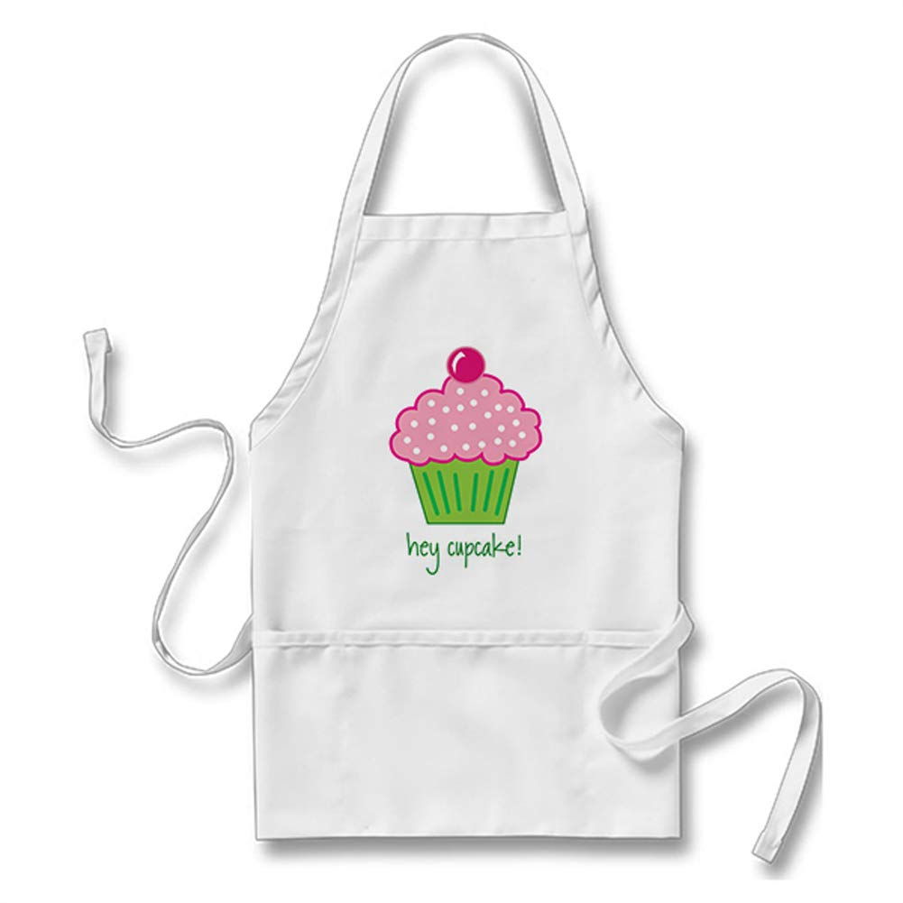 URLife Hey Cupcake! Adults' Apron Kitchen Accessories,28L by 24W/White by URLife