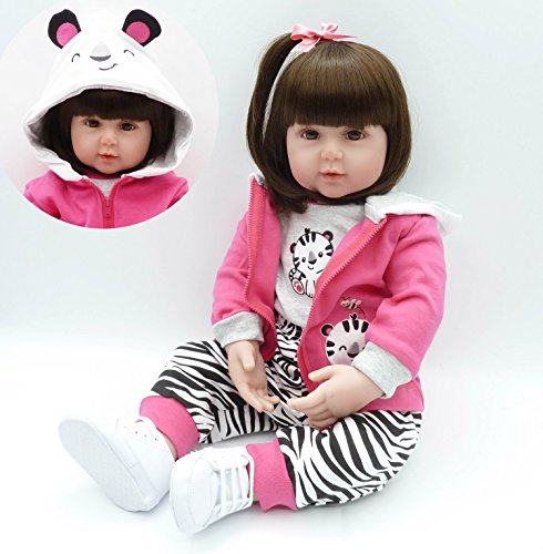 Pursue Baby Adorable Soft Floppy Body Real Life Baby Princess Girl Doll with Long Hair, Cute Little Tiger, 24 Inch Lifelike Poseable and Weighted Toddler Doll Infant Toy for Cuddle by Pursue Baby