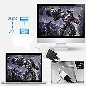 Premium USB 3.0 to VGA Adapter Converter, Jackiey Mini Full HD External Video Card Multi Monitor Adapter USB to VGA Adapter Converter Support Max Resolution 1080p for Win 7 8 10