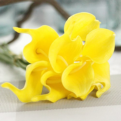 KRexpress 18pcs Home Garden Hotel Party Event Christmas Wedding Gift Decoration Artificial Flowers Nearly Natural Calla Lily,Yellow