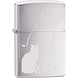 Animals Part2 Zippo Lighter Outdoor Indoor Windproof Lighter Free Customize Personalized Engrave Message Permanent Lifetime Engraving on Backside (Dog and Cat)