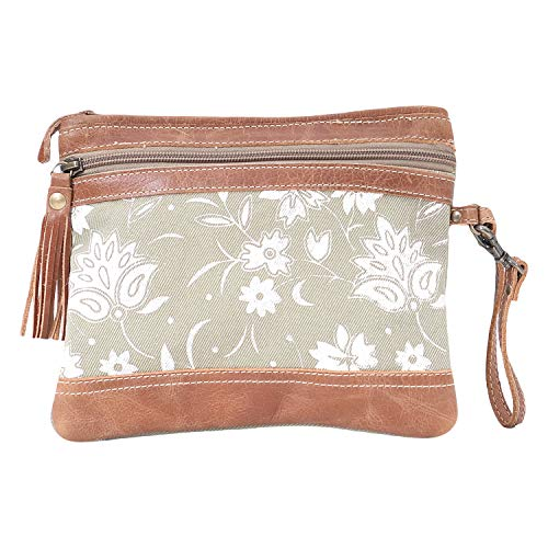Myra Bag Green N' Tan Upcycled Canvas Leather Pouch Wristlet Bag S1599