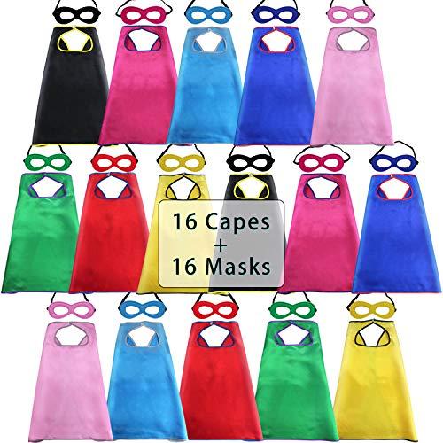 D.Q.Z Kids Superhero-Capes Bulk Super-Hero Party, 16 Pack (Multicolored)