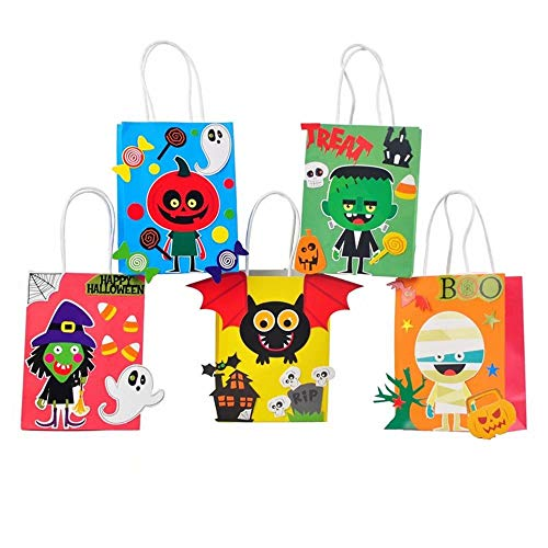 Halloween Candy Bags- Halloween Crafts for Kids- Trick Or Treat Bags-Party Favors-5 Packages -